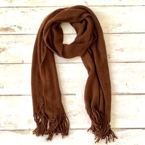 Brown Knit Woven Scarf Unisex Men's Women's